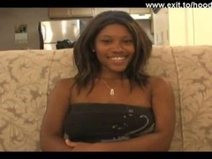 18 long years shy charming Ebony Teenage Cherry. What a black beauty. Natural large 18-19 y.o. boobs. Gulping down white purple rod like a veteran por