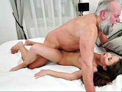 anita bellini cuddles with old fart and gets fucked in the morning
