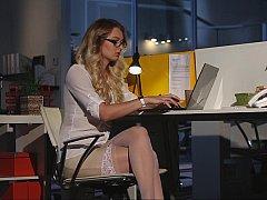 Blondine, Bekleidet, Brille, Absätze, Nackt, Büro, Strümpfe, Nass