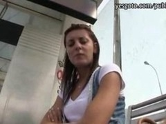 Czech Girl Anticipating The Tram Stuffed In Public With Stranger
