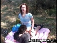 Anorexic redhead gets outdoor cumshot on face part1