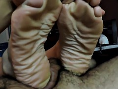 wide thick wrinkly soles poses on cock