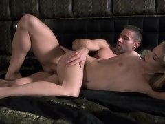 A blonde with a sexy pussy is penetrated by her eager man