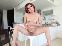 Tranny doing it solo in the kitchen