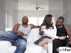 Two black thugs double penetrate a sexy white whore