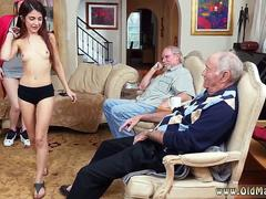 Two mouth watering girls suck grandpas fat pecker