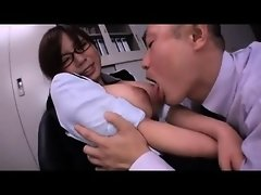 Oriental girl with large breasts get groped by guy that was
