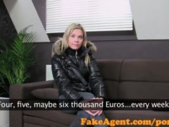 FakeAgent Sexy blonde bar girl fucked hard and spunked over in Casting