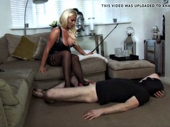 Blondy Mistess gives some Hard Ballbusting