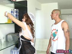 Tiny teen maid spunked