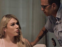 blonde shemale aspen brooks sucks and fucks chads cock on the table