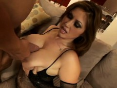 Sultry babe in sexy lingerie exposes her big tits and fucks a hard rod