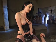 loyal slave munches on goddess veruca james's crotch as she sits on him