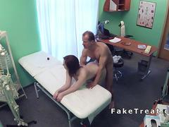 Doctor fucks chubby patient on a desk in fake hospital