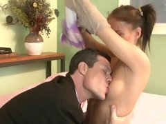 Teen opens her ass cheeks for anal with an older man