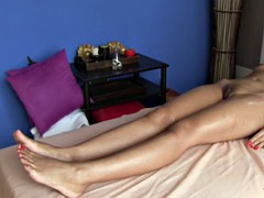 Naked Asian girl oil massage