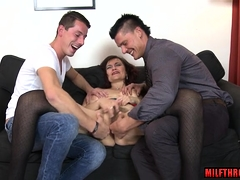 Natural tits milf threesome with cum on face