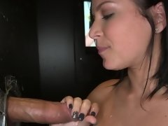 Gloryhole girl sucks as much cock as she can to make them all cum