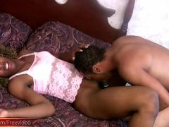 Horny dude sucks big black tranny meat for the first time