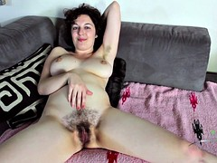 Naughty Housewife Rubs Her Hairy Pussy