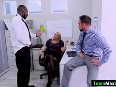 Zoey gets fucked by her two officemates