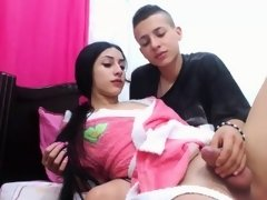 Shemale tranny sprayed with juice after anal