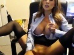 Stunning Model Secretary Dildos Her Pussy