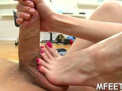 asian style of making a footjob feature