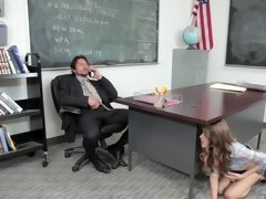 A hot student is getting her mouth around her teacher's cock