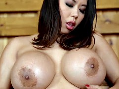 Horny Japanese girl with huge tits Tigerr Benson fucks herself in the bath