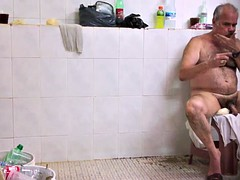 shaving dad in the bathhouse