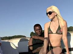 interracial sex on a motorboat for the slutty blonde jada love