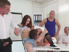 Sexy slut is in a gangbang, getting her holes penetrated a lot