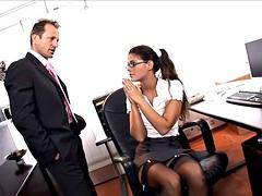 Horny secretary fucked on her desk in lingerie