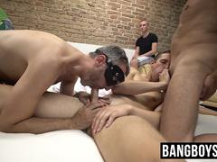 Masked gay men having a mysterious dick sucking orgy