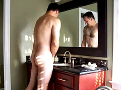 Mature man shaving and jacking-off