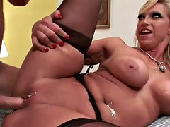 busty blonde has fun with a stud's long cock