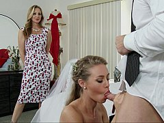Blondine, Braut, Kleid, Familie, Hardcore, Pornostars, Flotter dreier, Hochzeit
