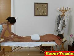Asian masseuse riding client on hidden cam