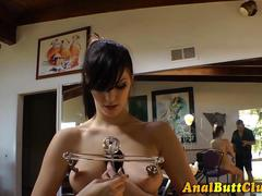 Booty les nipple clamped