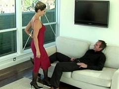 Lady in red giving head & having an intercourse
