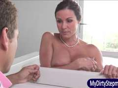 Busty Mom fucked her stepson and his GF