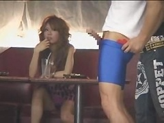 Muscular man flashes very glamorous bigtitted Japanese gal in a bar