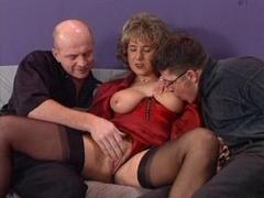 German houswife adoring 2 hard cocks