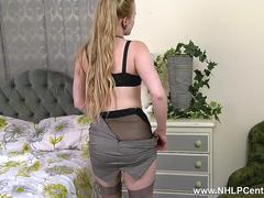 Blonde Lucy Lume from office tease to home slut big tits in retro nylon fuck me stilettos toys pussy