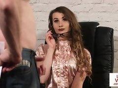 Office babe instructs guy to masturbate