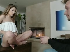 A sexy and energetic teen gets her panties ripped off her body