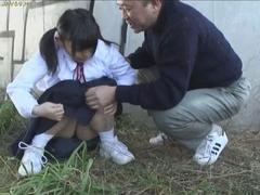 Petite Asian teen slut sucks old mans dick outdoors with pleasure