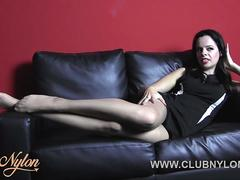 Brunette Tiff Naylor teasing rubbing her nylon pantyhose ready for you to cum on her legs feet