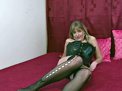 wife takes off her latex outfit and masturbates